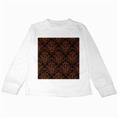DAMASK1 BLACK MARBLE & RUSTED METAL (R) Kids Long Sleeve T-Shirts