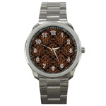 DAMASK1 BLACK MARBLE & RUSTED METAL (R) Sport Metal Watch Front