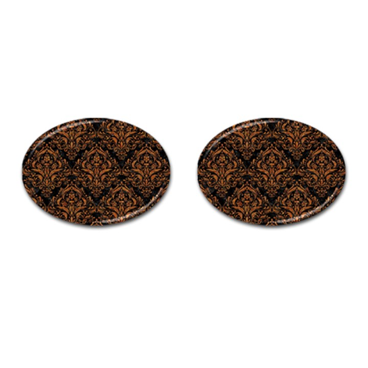 DAMASK1 BLACK MARBLE & RUSTED METAL (R) Cufflinks (Oval)