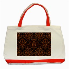 DAMASK1 BLACK MARBLE & RUSTED METAL (R) Classic Tote Bag (Red)
