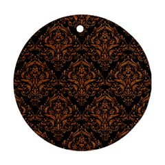 DAMASK1 BLACK MARBLE & RUSTED METAL (R) Round Ornament (Two Sides)