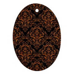 DAMASK1 BLACK MARBLE & RUSTED METAL (R) Oval Ornament (Two Sides)