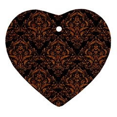 DAMASK1 BLACK MARBLE & RUSTED METAL (R) Heart Ornament (Two Sides)