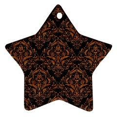 DAMASK1 BLACK MARBLE & RUSTED METAL (R) Star Ornament (Two Sides)