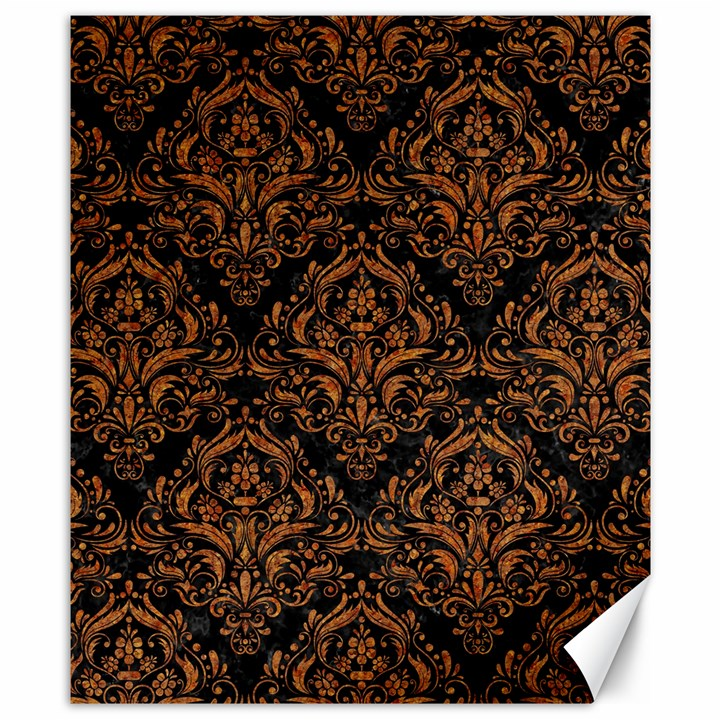 DAMASK1 BLACK MARBLE & RUSTED METAL (R) Canvas 8  x 10
