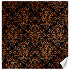 DAMASK1 BLACK MARBLE & RUSTED METAL (R) Canvas 12  x 12