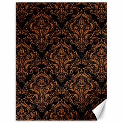 DAMASK1 BLACK MARBLE & RUSTED METAL (R) Canvas 12  x 16