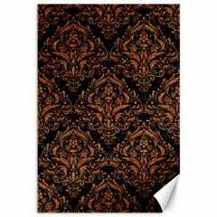 DAMASK1 BLACK MARBLE & RUSTED METAL (R) Canvas 12  x 18