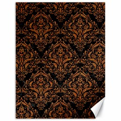 DAMASK1 BLACK MARBLE & RUSTED METAL (R) Canvas 18  x 24