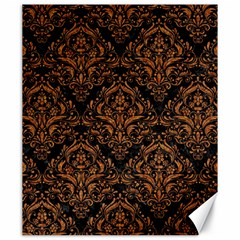 Damask1 Black Marble & Rusted Metal (r) Canvas 20  X 24