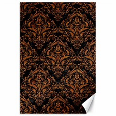 DAMASK1 BLACK MARBLE & RUSTED METAL (R) Canvas 20  x 30