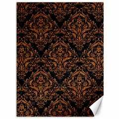DAMASK1 BLACK MARBLE & RUSTED METAL (R) Canvas 36  x 48