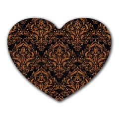DAMASK1 BLACK MARBLE & RUSTED METAL (R) Heart Mousepads