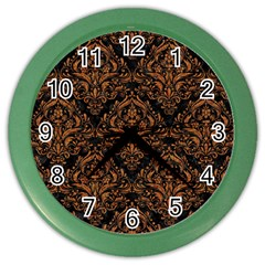 DAMASK1 BLACK MARBLE & RUSTED METAL (R) Color Wall Clocks