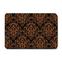 DAMASK1 BLACK MARBLE & RUSTED METAL (R) Small Doormat