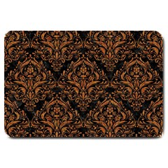 DAMASK1 BLACK MARBLE & RUSTED METAL (R) Large Doormat