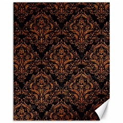 DAMASK1 BLACK MARBLE & RUSTED METAL (R) Canvas 11  x 14