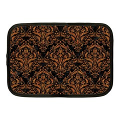 DAMASK1 BLACK MARBLE & RUSTED METAL (R) Netbook Case (Medium)