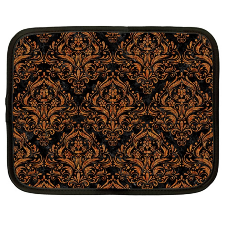 DAMASK1 BLACK MARBLE & RUSTED METAL (R) Netbook Case (Large)