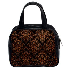 DAMASK1 BLACK MARBLE & RUSTED METAL (R) Classic Handbags (2 Sides)