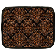 DAMASK1 BLACK MARBLE & RUSTED METAL (R) Netbook Case (XL)
