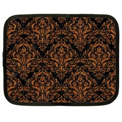 DAMASK1 BLACK MARBLE & RUSTED METAL (R) Netbook Case (XXL)