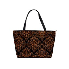 DAMASK1 BLACK MARBLE & RUSTED METAL (R) Shoulder Handbags