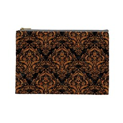 DAMASK1 BLACK MARBLE & RUSTED METAL (R) Cosmetic Bag (Large)