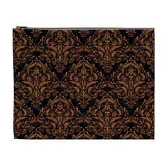 DAMASK1 BLACK MARBLE & RUSTED METAL (R) Cosmetic Bag (XL)