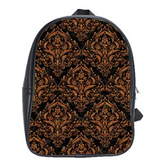 DAMASK1 BLACK MARBLE & RUSTED METAL (R) School Bag (Large)