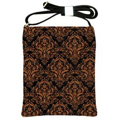DAMASK1 BLACK MARBLE & RUSTED METAL (R) Shoulder Sling Bags