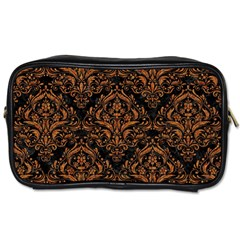 DAMASK1 BLACK MARBLE & RUSTED METAL (R) Toiletries Bags 2-Side