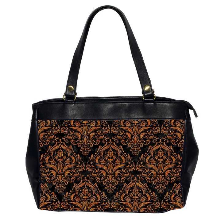 DAMASK1 BLACK MARBLE & RUSTED METAL (R) Office Handbags (2 Sides)