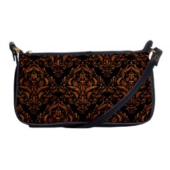 Damask1 Black Marble & Rusted Metal (r) Shoulder Clutch Bags by trendistuff