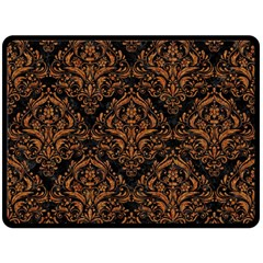 DAMASK1 BLACK MARBLE & RUSTED METAL (R) Fleece Blanket (Large)