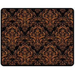 DAMASK1 BLACK MARBLE & RUSTED METAL (R) Fleece Blanket (Medium)