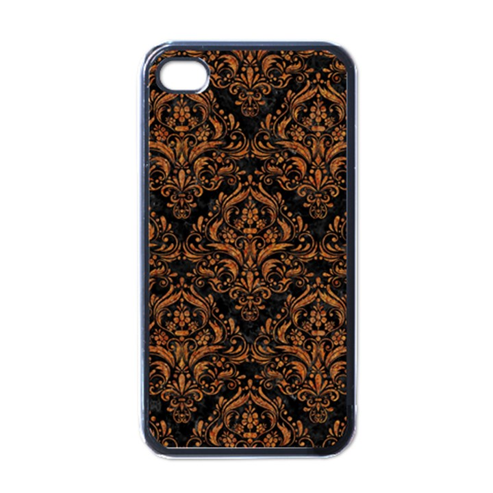 DAMASK1 BLACK MARBLE & RUSTED METAL (R) Apple iPhone 4 Case (Black)