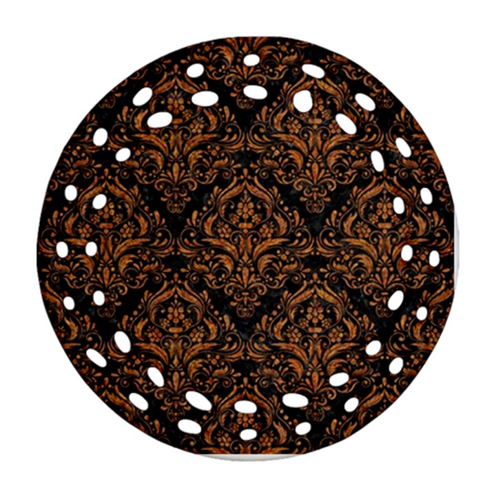DAMASK1 BLACK MARBLE & RUSTED METAL (R) Ornament (Round Filigree)