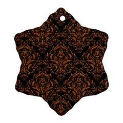 DAMASK1 BLACK MARBLE & RUSTED METAL (R) Ornament (Snowflake)