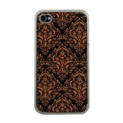 DAMASK1 BLACK MARBLE & RUSTED METAL (R) Apple iPhone 4 Case (Clear)