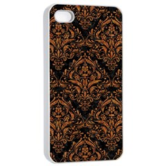 DAMASK1 BLACK MARBLE & RUSTED METAL (R) Apple iPhone 4/4s Seamless Case (White)