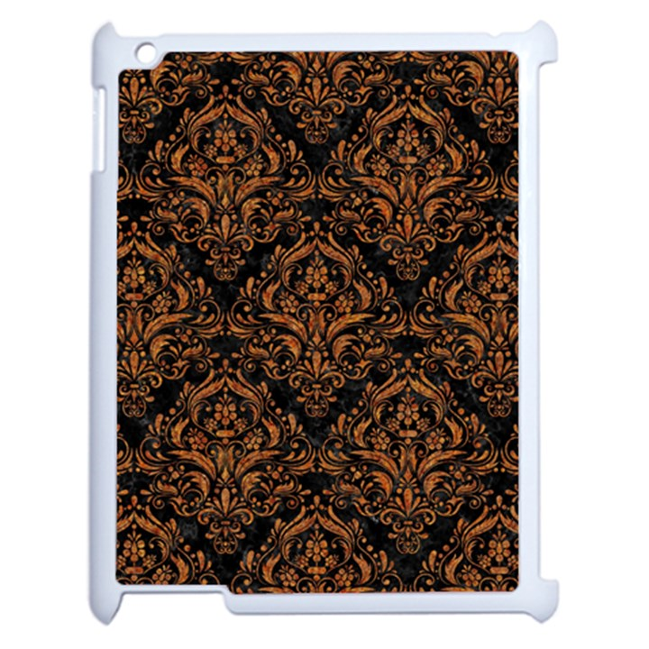 DAMASK1 BLACK MARBLE & RUSTED METAL (R) Apple iPad 2 Case (White)