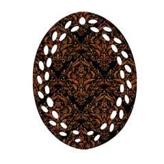 DAMASK1 BLACK MARBLE & RUSTED METAL (R) Oval Filigree Ornament (Two Sides)
