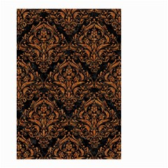 DAMASK1 BLACK MARBLE & RUSTED METAL (R) Small Garden Flag (Two Sides)