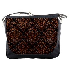 DAMASK1 BLACK MARBLE & RUSTED METAL (R) Messenger Bags