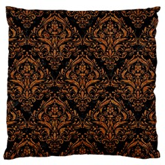 DAMASK1 BLACK MARBLE & RUSTED METAL (R) Large Cushion Case (One Side)
