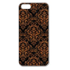 DAMASK1 BLACK MARBLE & RUSTED METAL (R) Apple Seamless iPhone 5 Case (Clear)