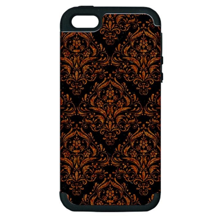 DAMASK1 BLACK MARBLE & RUSTED METAL (R) Apple iPhone 5 Hardshell Case (PC+Silicone)