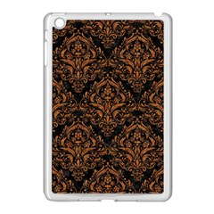 DAMASK1 BLACK MARBLE & RUSTED METAL (R) Apple iPad Mini Case (White)