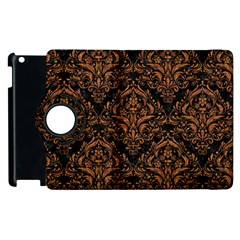 DAMASK1 BLACK MARBLE & RUSTED METAL (R) Apple iPad 2 Flip 360 Case